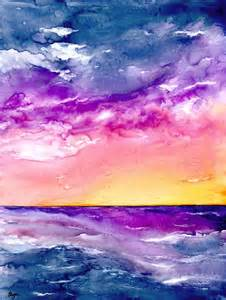 water color sunset watercolour painting sunset seascape