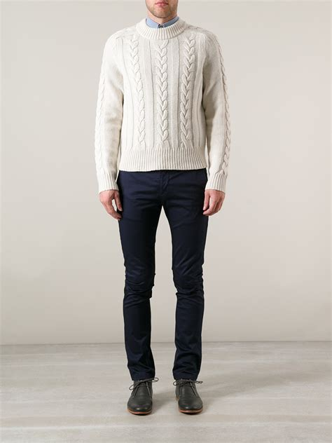 mens white cable knit sweater lyst acne studios brent cable knit sweater in white for