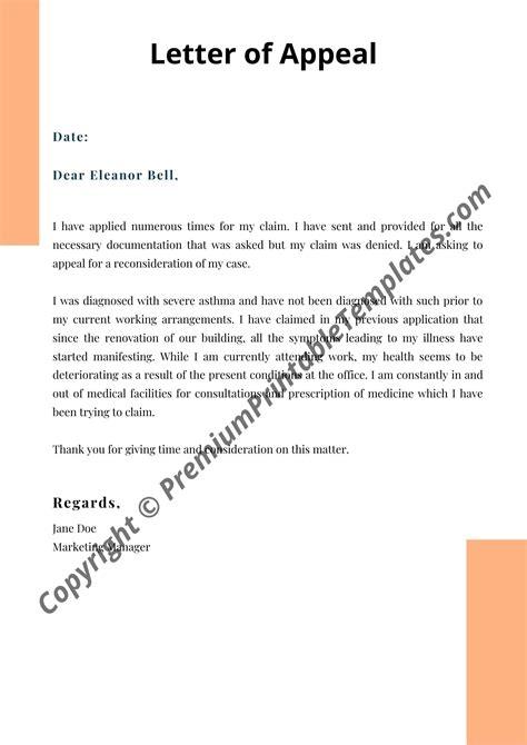 appeal letter editable premium printable templates