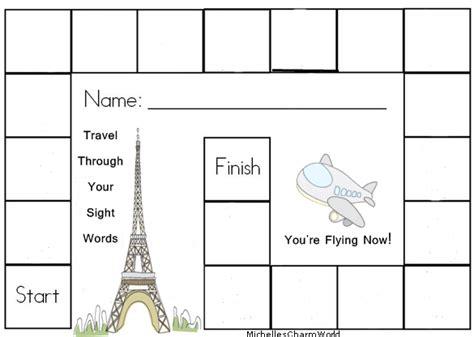 plain board template michelles charm world sight word tracker