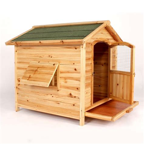Wooden Cedar Dog House Large Kennel Hinged Roof Removable Floor Puppy Pet Ebay