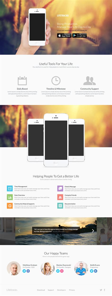mobile app landing page psd template free download