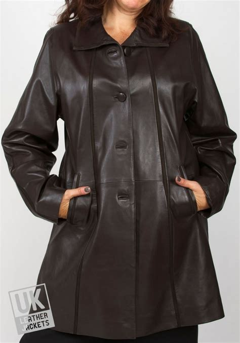 S W A T Leather Brown womens brown leather and suede coat uk lj