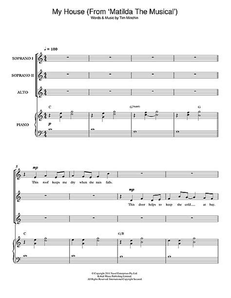 my house matilda lyrics my house from matilda the musical choral ssa sheet music by by tim minchin ssa