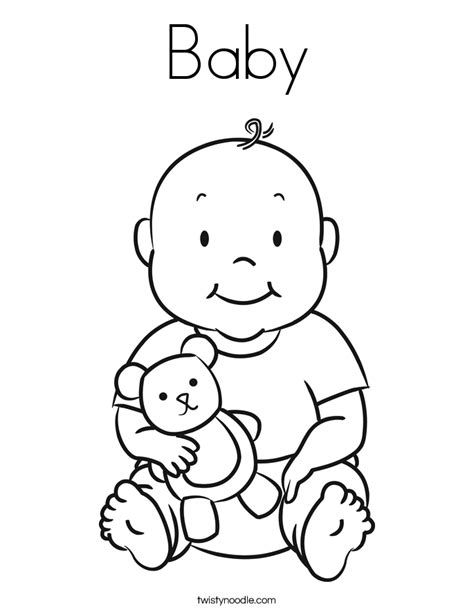 Baby Coloring Page Twisty Noodle Newborn Baby Coloring Pages Free