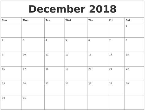 December 2018 Free Blank Calendar Template