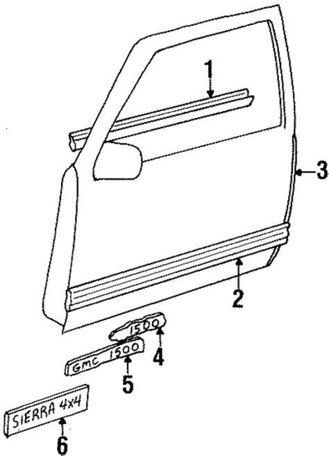 Exterior Door Parts Exterior Trim Front Door Parts For 1990 Gmc K1500 Gm Parts Club