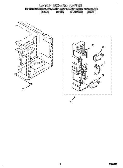 kitchenaid microwave parts diagram latch board diagram parts list for model kcms145jss0