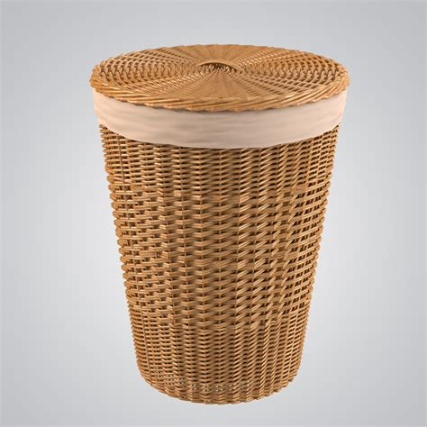 wicker basket bathroom 3d bathroom wicker bin model