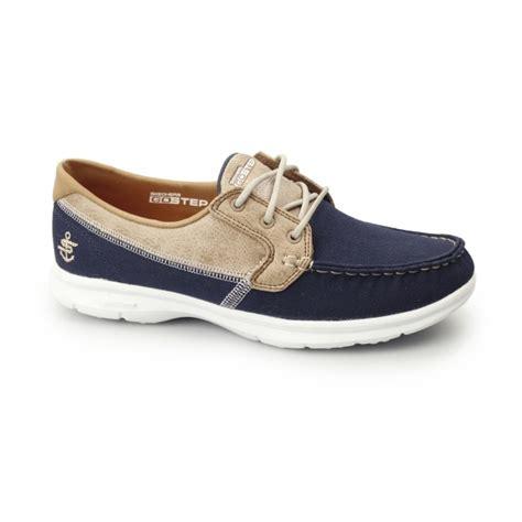 skechers go step seashore canvas boat shoes navy