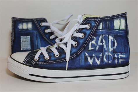 dr who sneakers 15 offthe bad wolf doctor who converse shoes blue by