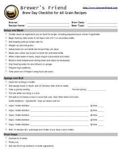printable homebrew recipes all grain brewing checklist procedure brewer s friend