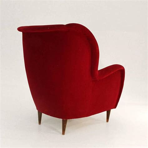 red velvet armchair italian red velvet armchair 1950s at 1stdibs