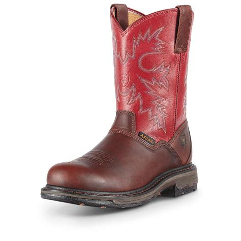 composite boots ariat workhog rt pull on composite toe boots 625439