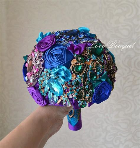 Wedding Bouquet Bling by Wedding Bouquet Purple And Blue Brooch Bouquet Peacock