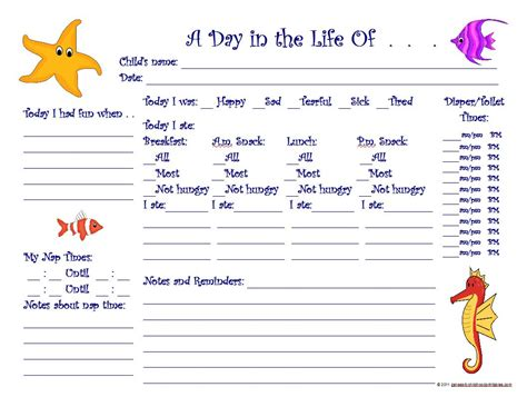 printable toddler daily sheets 7 best images of printable daily sheets for toddlers