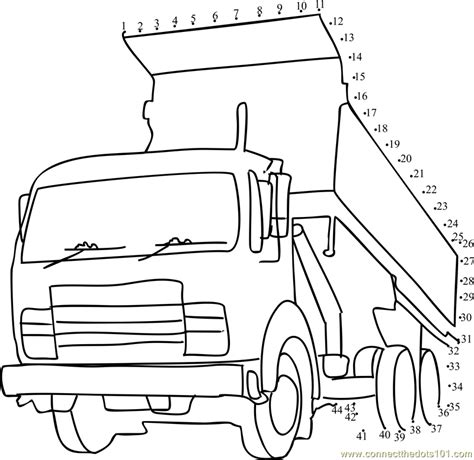 printable dot to dot truck tipper truck dot to dot printable worksheet connect the dots