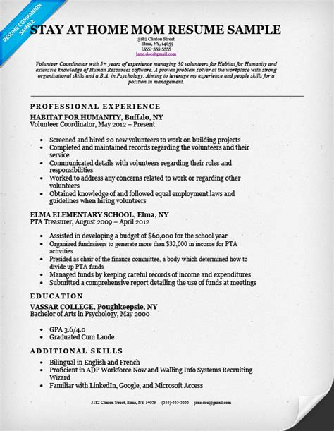 generous exle resume for stay at home re entering