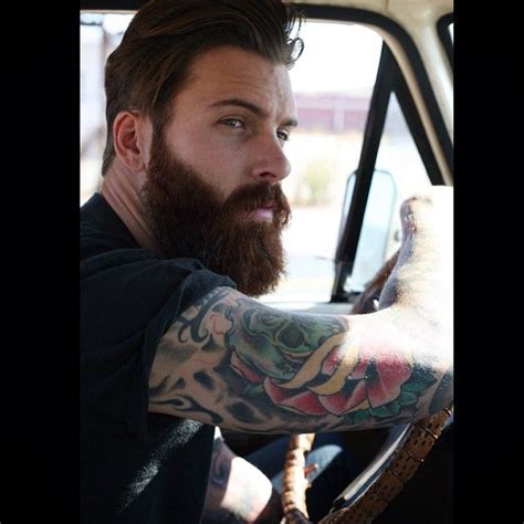 beard tattoo hashtags levi stocke full thick dark red beard and mustache