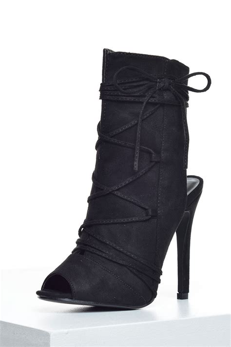 fatima peep toe ankle boots in black suede