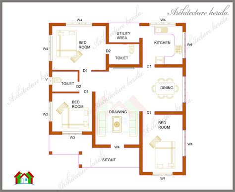 average square footage of a 3 bedroom house three bedrooms in 1200 square feet kerala house plan