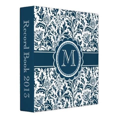 Binder Floral White 20 Ring teal green and white william morris floral 3 ring
