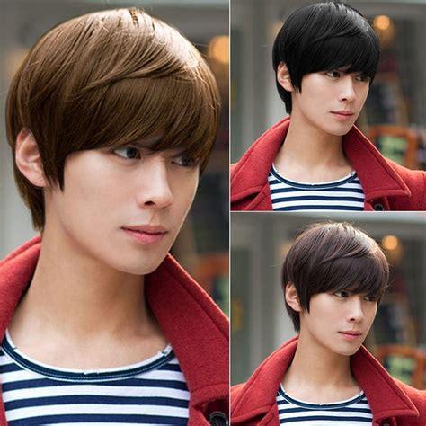 fashion men handsome short hair sexy korean boys male wig vogue handsome boys full wig new korean short black men s