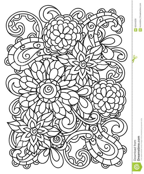 flower background coloring page background with line flowers for adult coloring stock