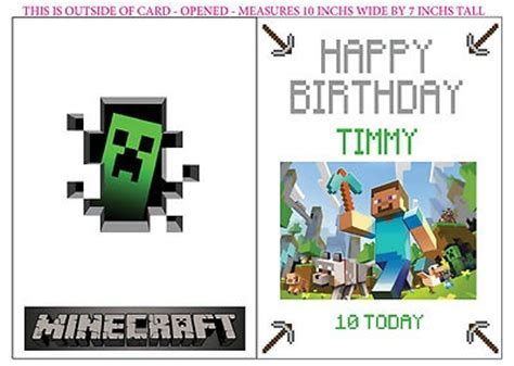 minecraft birthday card template free minecraft creeper personalized birthday card mine craft