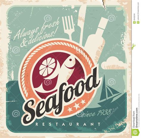 hacer imagenes retro cartel del vintage para el restaurante de los mariscos