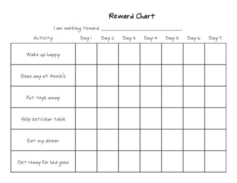 Printable Reward Charts For Kids Activity Shelter Reward Chart Template