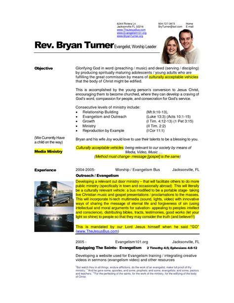 Pastor Resume by Free Exles Of Pastoral Resumes How To Write A Pastor