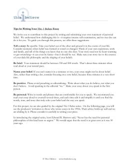 This I Believe- Essay Outline
