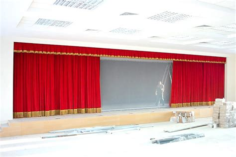traveller curtain assembly hall in a school curtains for multi purpose