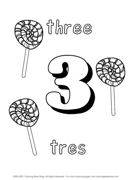 free spanish coloring pages numbers tres numbers learning spanish coloring page