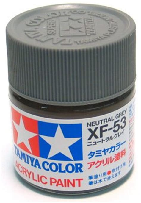 Tamiya Xf 53 Neutral Grey Enamel Paint 10ml tamiya acrylic paint neutral grey xf 53 kit kraft