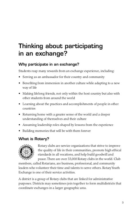 Rotary Study Exchange Essay Of Intent by Rotary International Exchange Student Guide
