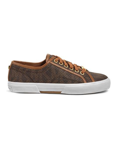 michael kors brown sneakers michael kors boerum perforated logo sneaker in brown lyst