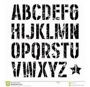 Fonte De Sans Serif Da Est&234ncil Placa No Estilo Militar Ilustra&231&227o