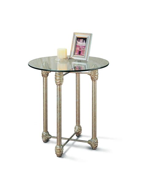 small round metal accent table furniture rustic round end table with glass top by