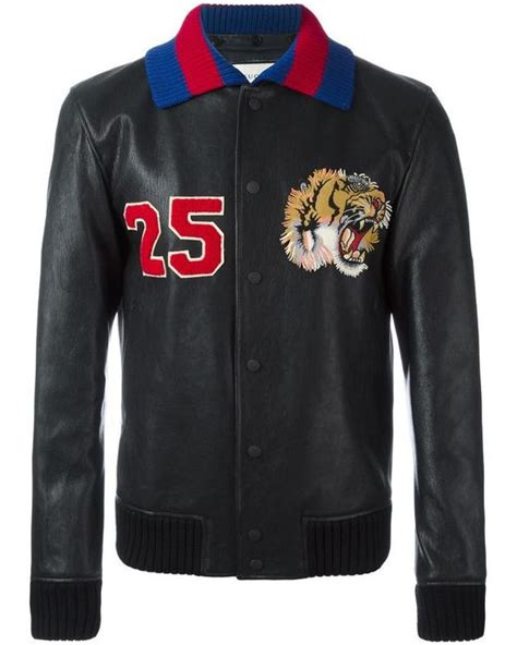 Black Mix Tiger Jacket gucci tiger embroidered bomber jacket in black for lyst