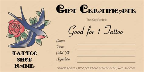 tattoo gift card bird gift certificate template