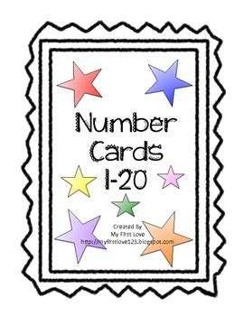 printable star numbers number cards 1 20 colored star theme by my first love tpt