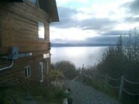 dovetail log cabin with large deck picture of alaska