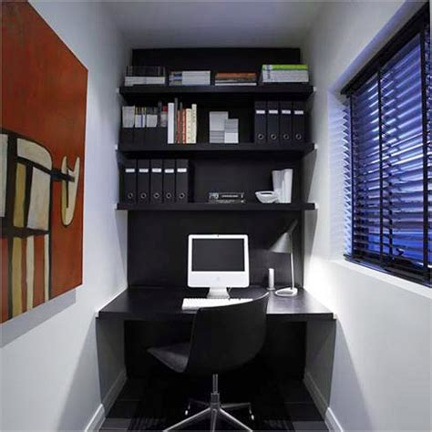Small Office Room Design Ideas L Shaped White Stained Wooden Office Desk Built In Drawer And Cabinets Storage Combined With