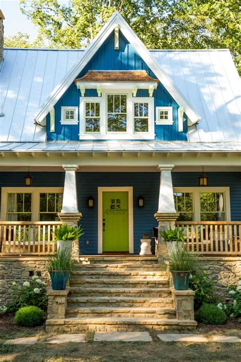 blue house with door the idea house a craftsman style cottage in