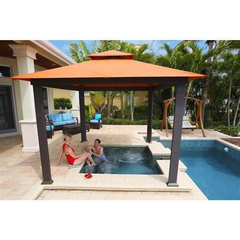 Outdoor Patio Gazebos Stc 10 Ft X 10 Ft Gazebo With Rust Sunbrella Canopy Gz634sr The Home Depot