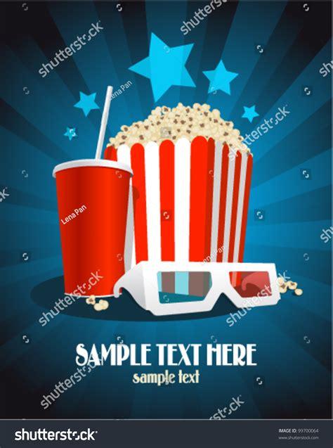 cinema poster popcorn box cola  stock vector