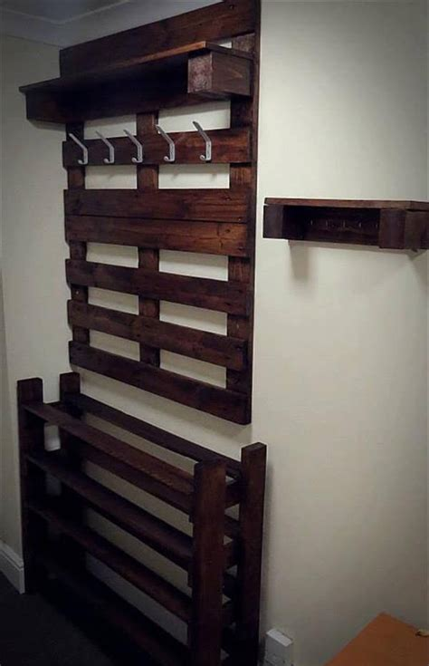 How To Build A Shoe Organizer For Entryway by Hallway Pallet Coat Rack And Shoe Rack 101 Pallets