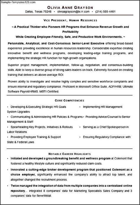 sle executive resume template for hr vp sle templates